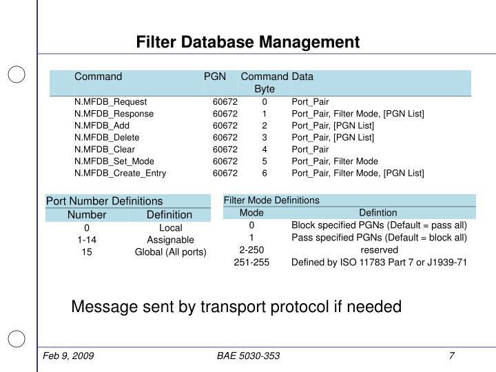 Filter Database Management