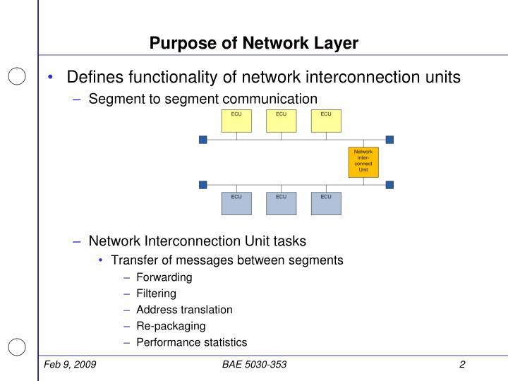 Purpose of Network Layer