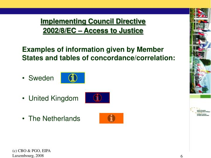 Implementing Council Directive