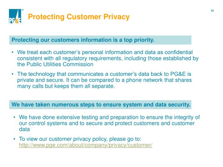 Protecting Customer Privacy