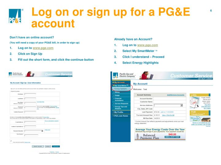 Log on or sign up for a PG&E account