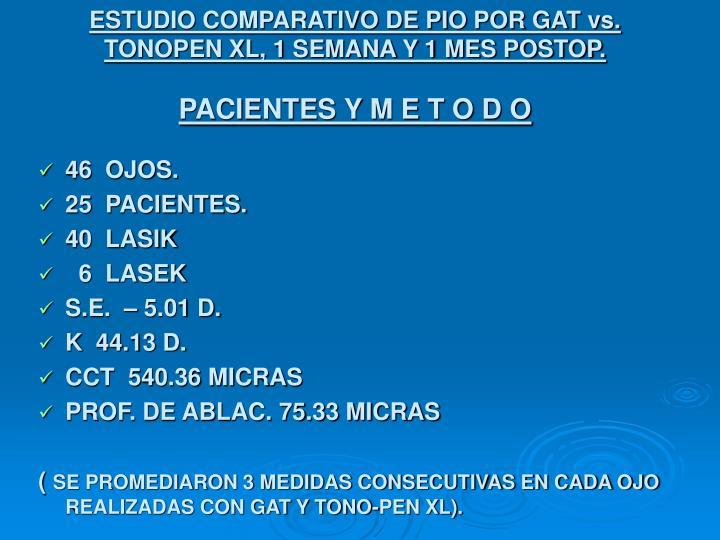 ESTUDIO COMPARATIVO DE PIO POR GAT vs. TONOPEN XL, 1 SEMANA Y 1 MES POSTOP.