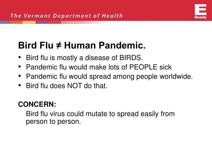 Bird Flu ≠ Human Pandemic.