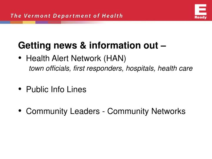 Getting news & information out –