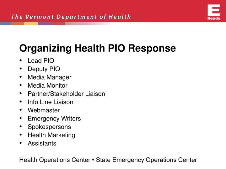 Organizing Health PIO Response