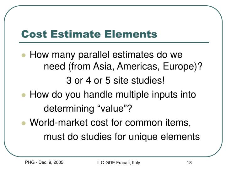 Cost Estimate Elements
