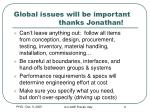 global issues will be important thanks jonathan