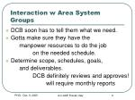 interaction w area system groups