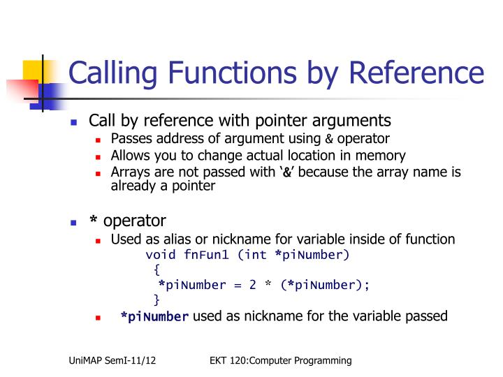 Calling Functions by Reference