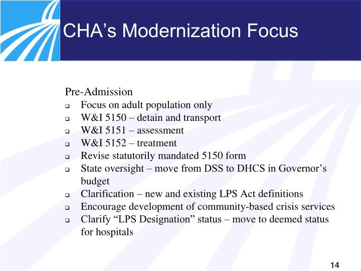 CHA's Modernization Focus