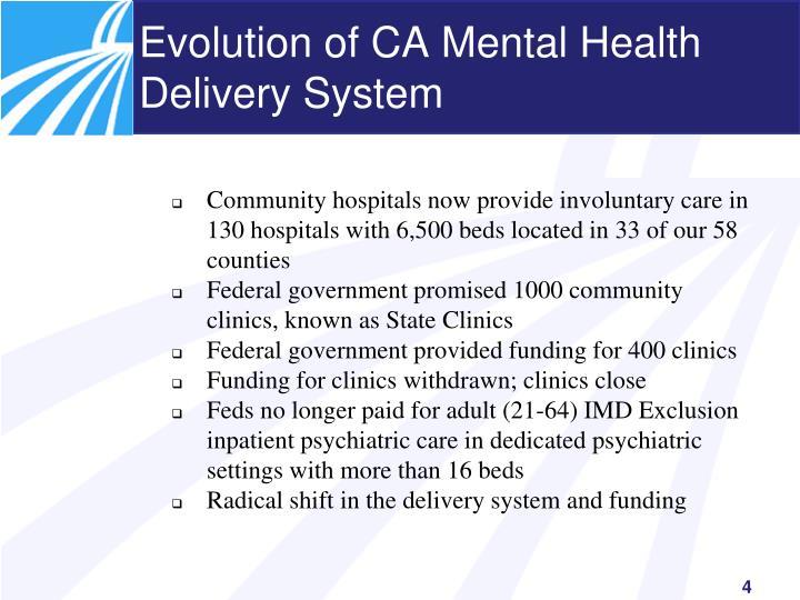 Evolution of CA Mental Health Delivery System