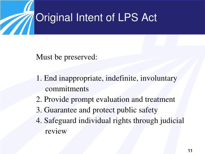 Original Intent of LPS Act