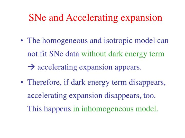 SNe and Accelerating expansion