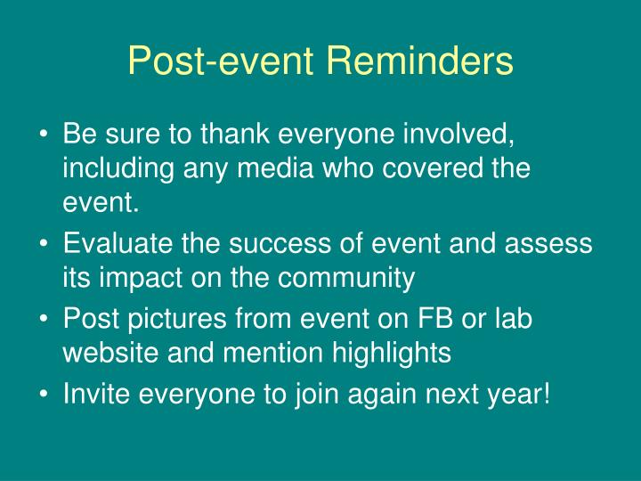 Post-event Reminders
