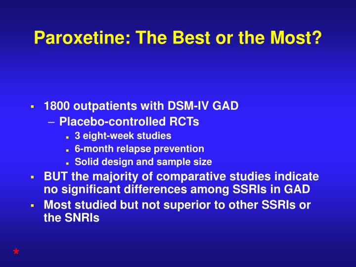 Paroxetine: The Best or the Most?