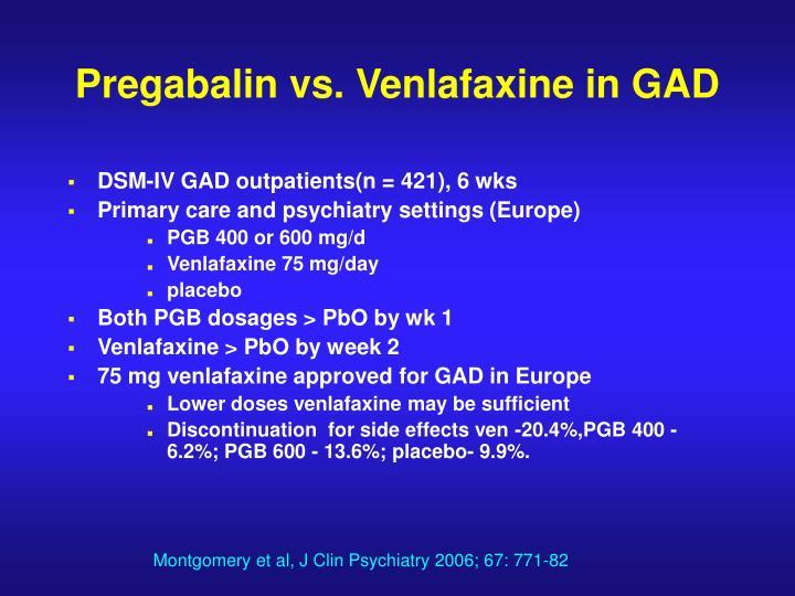 Pregabalin vs. Venlafaxine in GAD
