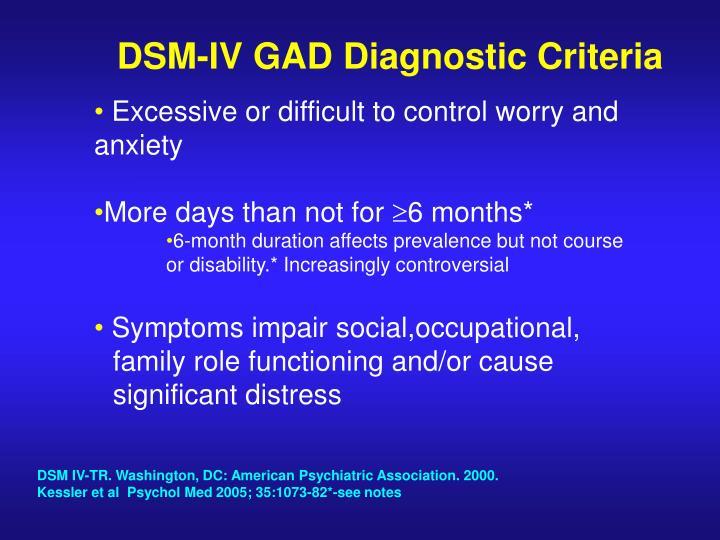 DSM-IV GAD Diagnostic Criteria