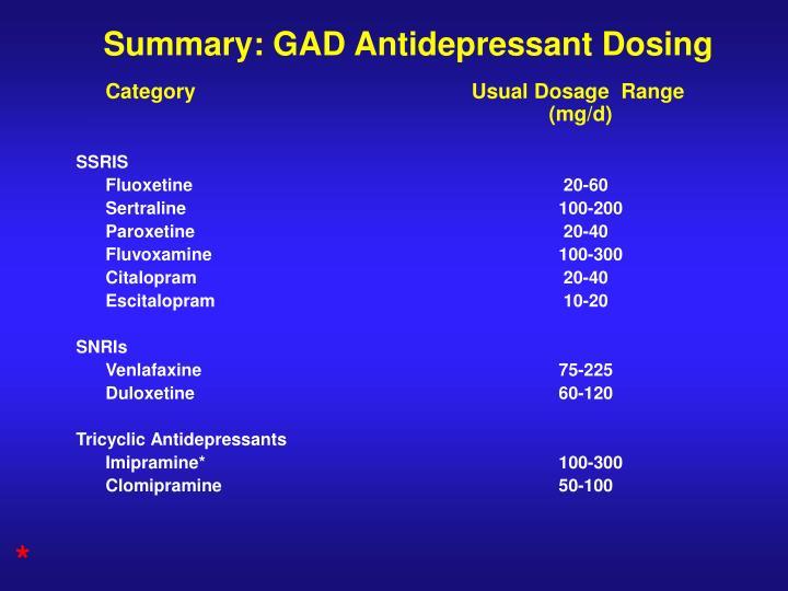 Summary: GAD Antidepressant Dosing