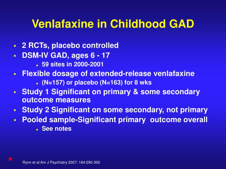 Venlafaxine in Childhood GAD