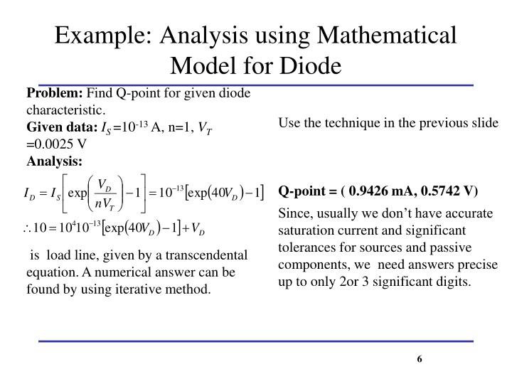 Example: Analysis using Mathematical Model for Diode