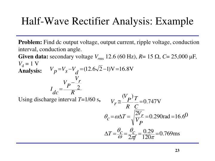 Half-Wave Rectifier Analysis: Example