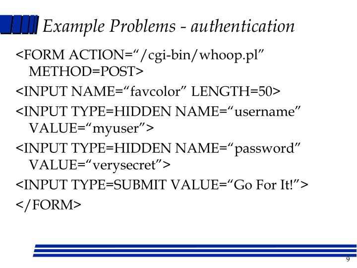 Example Problems - authentication