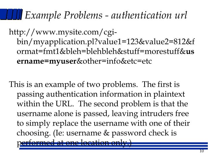 Example Problems - authentication url