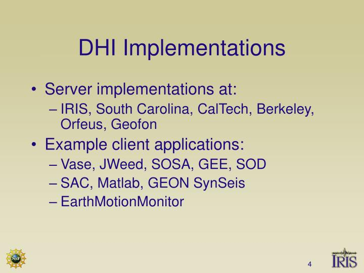 DHI Implementations