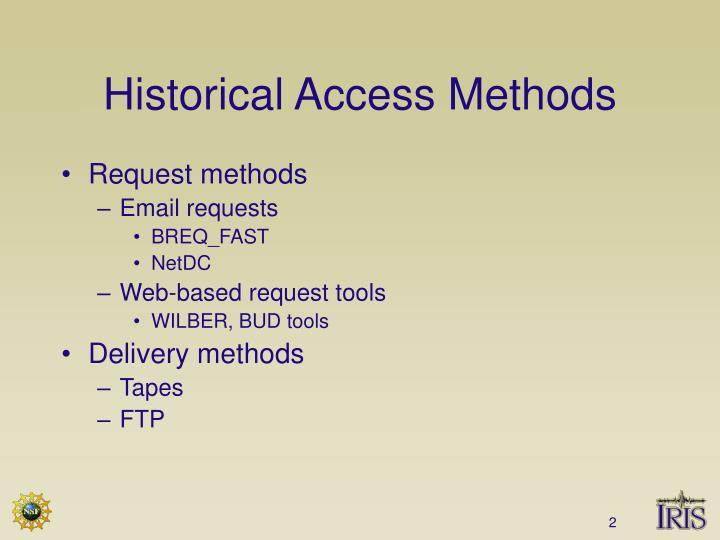 Historical Access Methods