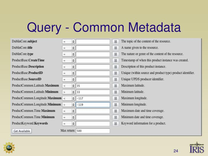 Query - Common Metadata