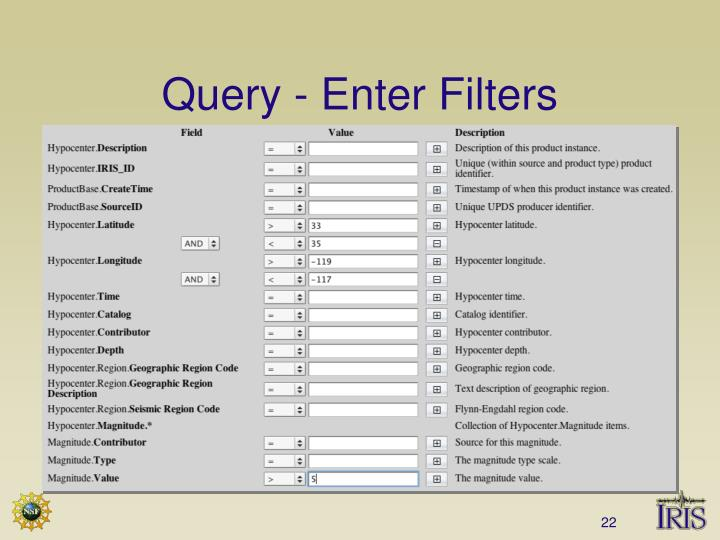 Query - Enter Filters
