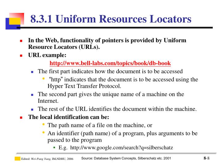 In the Web, functionality of pointers is provided by Uniform Resource Locators (URLs).