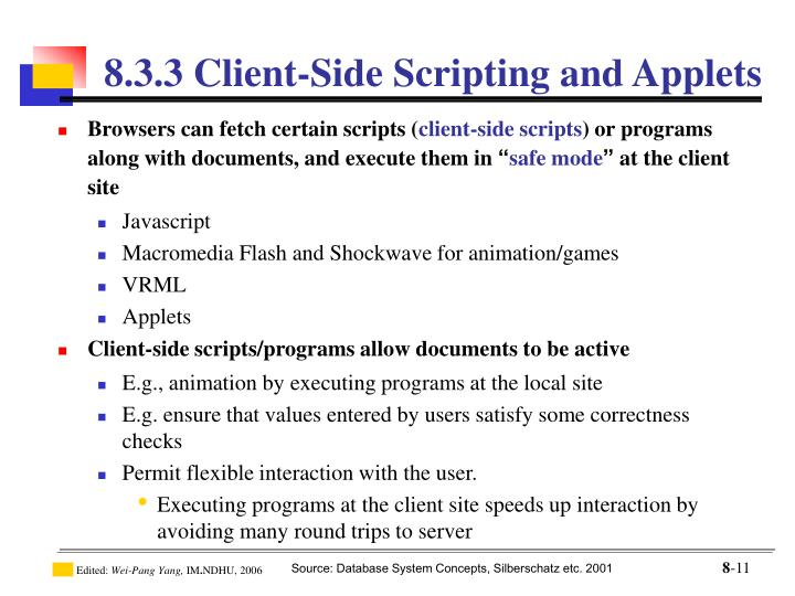 8.3.3 Client-Side Scripting and Applets