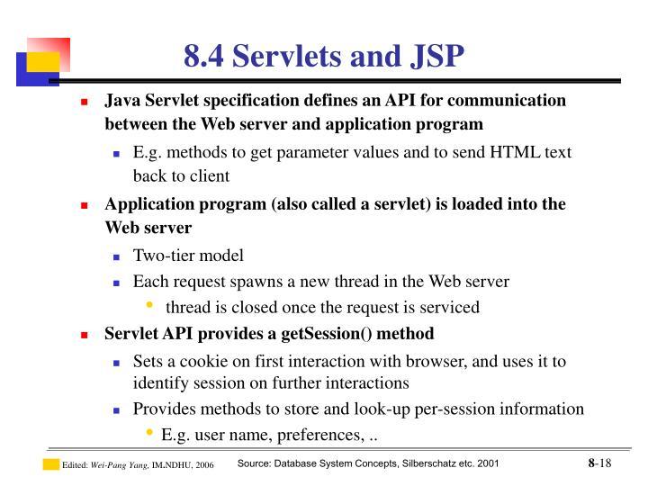 8.4 Servlets and JSP