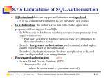 8 7 6 limitations of sql authorization