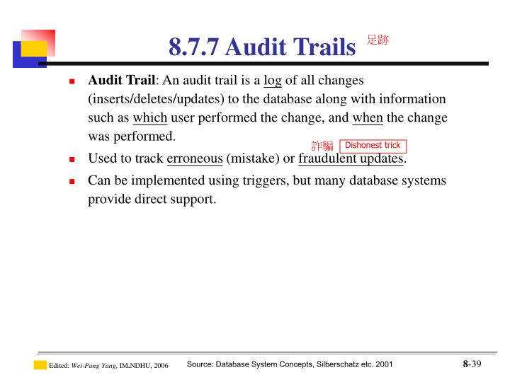 8.7.7 Audit Trails