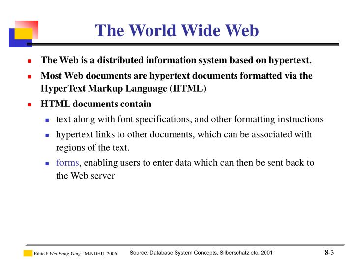 The Web is a distributed information system based on hypertext.