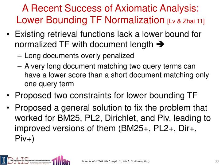 A Recent Success of Axiomatic Analysis: