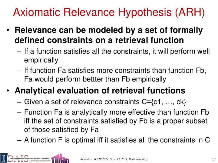 Axiomatic Relevance Hypothesis (ARH)