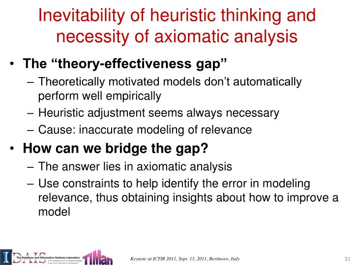 Inevitability of heuristic thinking and necessity of axiomatic analysis