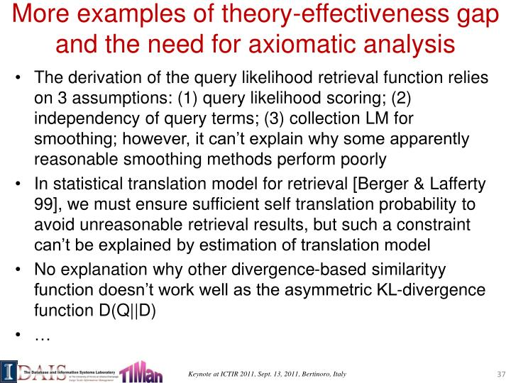 More examples of theory-effectiveness gap and the need for axiomatic analysis