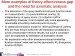 more examples of theory effectiveness gap and the need for axiomatic analysis