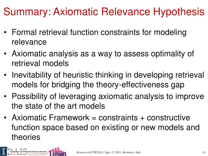 Summary: Axiomatic Relevance Hypothesis