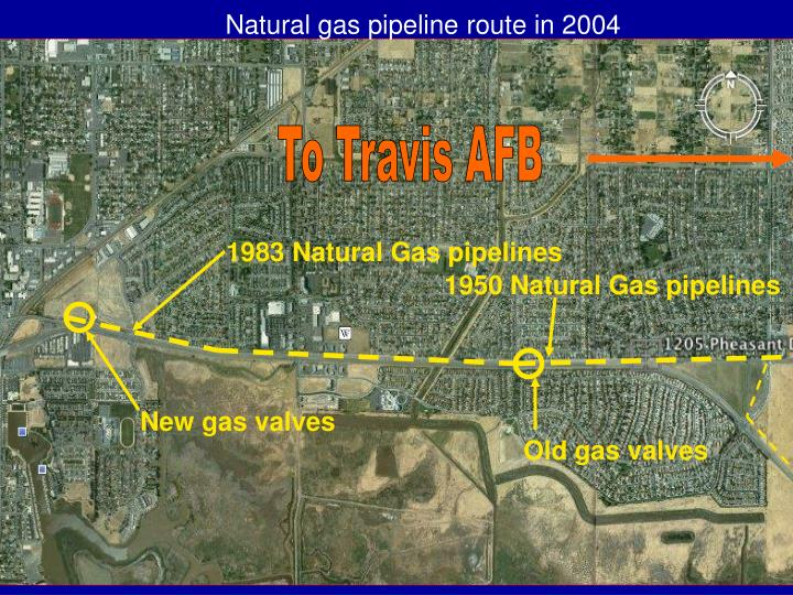 Natural gas pipeline route in 2004