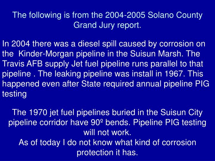 The following is from the 2004-2005 Solano County Grand Jury report.