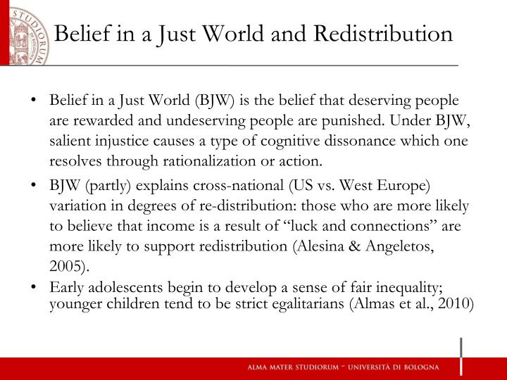 Belief in a just world and redistribution