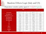 random effects logit italy and us