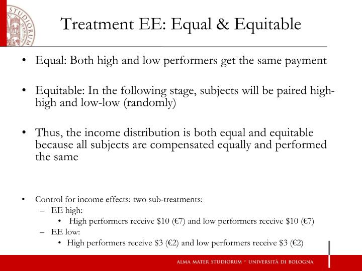 Treatment EE: Equal & Equitable