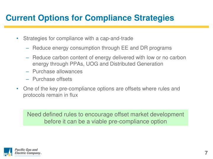 Current Options for Compliance Strategies
