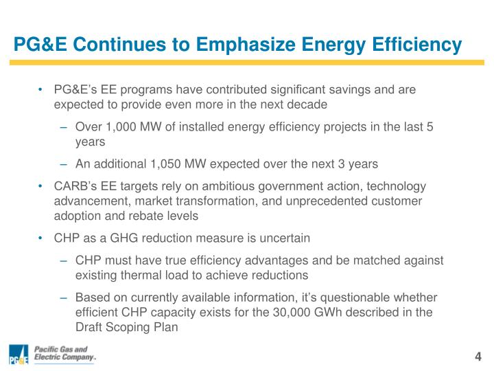 PG&E Continues to Emphasize Energy Efficiency